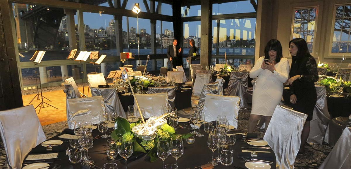 ACO dinner at Siebel at the Rocks – the decoration on the violin centrepieces drew from the industrial textures of the venue